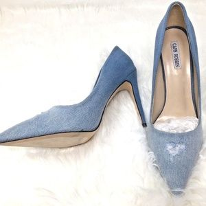 Cape Robbin VENI-23 Blue Denim Distressed Stiletto